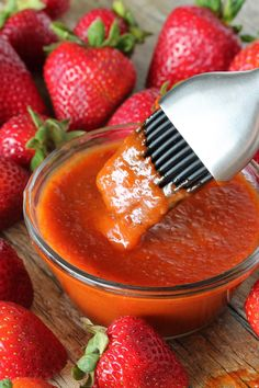 This sweet and smokey barbecue sauce is made with fresh strawberries and chipotle peppers for a spicy kick. You'll love this homemade Strawberry Chipotle Barbecue Sauce.
