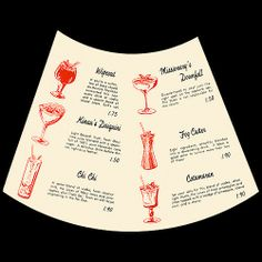 1960's cocktail menu, inside page from Duke Kahanamoku's - Waikiki, HI.