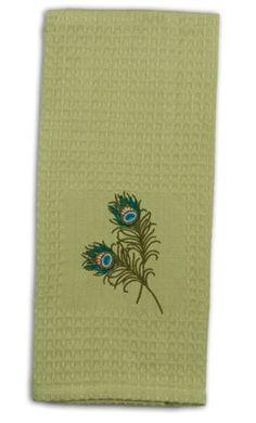 "Kaydee Blue Green Peacock Feather Embroidered Kitchen Waffle Towel 28"" Kay Dee http://www.amazon.com/dp/B00ICYAPGU/ref=cm_sw_r_pi_dp_9QbGwb1EBA364"