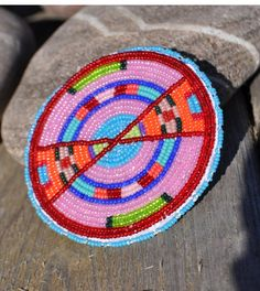Totally Techno-Crow (Beaded Round Pin from Custer Battlefield Trading Post).