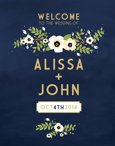 The ALYSSA . Welcome Welcome Sign Gold & Navy by BuffyWeddings                                                                                                                                                                                 もっと見る