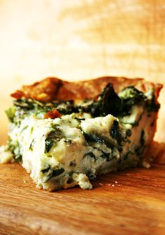 Quiche with Crème Fraîche and Swiss Chard  (can be made with Kale !!)  made this, when it says leave on the rack for 20 minutes, it means turn off the heat, don't open the door or else you'll be cooking this for an extra 45 minutes. trust. yo. Also I made one with artichokes (canned) and baby spinach (unchopped) and one with barely chopped kale for Easter brunch. magnificent. Will be making again.