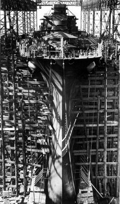 USS Indiana under construction  at Newport News - WWII