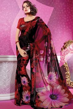 Red Georgette Saree Contemporary, Designer Red Georgette Saree with Borderless and Borderless Pallu. Saree Comes with Boat Neck Blouse and Half Sleeve Blouse and work with Printed. This design is perfect for Festival, Casual, Ceremonial and Occasion Wear.
