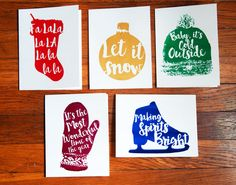 10-Pack Hand Printed Christmas Cards and by Twelve34Designs