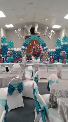 """Personalized Disney Frozen Theme Balloon Wall Castle """"Kylie"""".  Featuring  Silver, White, Bermuda Blue and Turquoise Blue Balloons"""