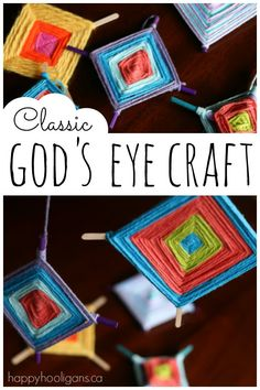 Classic God's Eye Craft for Kids - fine motor, weaving, co-ordination and colour - Happy Hooligans