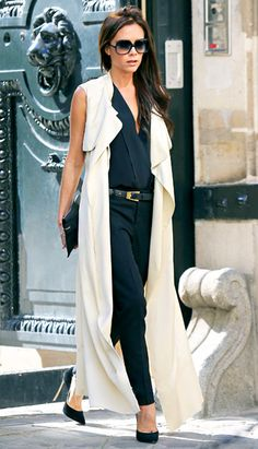 Headed for some high-end boutiques (think YSL and Celine) Victoria Beckham strutted out of the Great Britain embassy in Paris