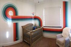 Retro stripe mural on nursery wall in Hermosa Beach, CA Painting Stripes On Walls, Room Wall Painting, Wall Paint Stripes, Beach Wall Murals, Mural Wall Art, Retro Bedrooms, Artwork For Living Room, Retro Room, Striped Walls