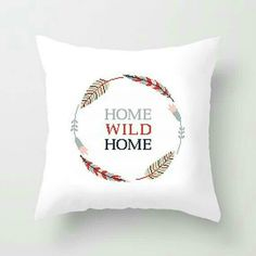 Home cross stitch pattern Home sweet home Home wild home Tribal embroidery pattern Feathers wreath DIY home decor Pillow cushion