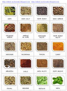 Etikety na kořenky Spice Jar Labels, Spice Jars, Decoupage, Printable Labels, Printables, Mini Foods, Vintage Frames, Korn, Decoration