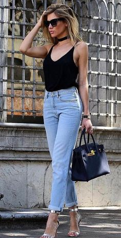 6087dd787 trendy spring outfit / v-neck top + boyfriend jeans + bag + silver heels