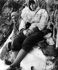 Fritz Kasparek and author/mountaineer Heinrich Harrer during the first successful ascent of the North Face of the Eiger in 1938