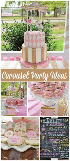 Such a pretty pink and gold carousel party with a spinning cake! See more party ideas at CatchMyParty.com!