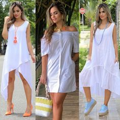 Boho Summer Dresses, Casual Dresses, Summer Outfits, Fashion Dresses, White Fashion, Look Fashion, Fashion Design, Hi Low Wedding Dress, Green Jacket Outfit