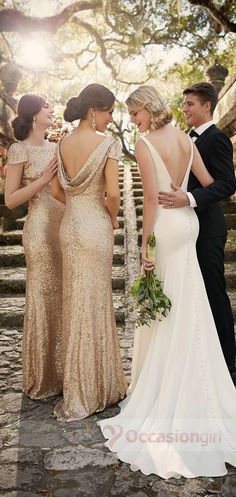 bridesmaid dresses, 2016 bridesmaid dresses, gold sequin bridesmaid dresses, cap sleeves bridesmaid dresses