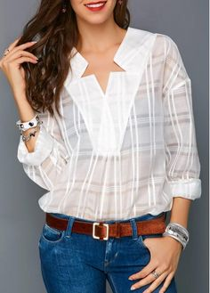 35 Hottest White Blouse Ideas That Looks Cool Trendy Clothes For Women, Blouses For Women, White Long Sleeve, Long Sleeve Tops, White Cotton Blouse, White Blouses, Women's Blouses, Silk T Shirt, Long Skirt Outfits