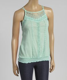 Another great find on #zulily! Mint Lace Cross-Back Blouson Tank by Simply Irresistible #zulilyfinds