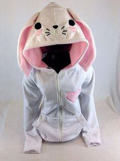 PAWSTAR Bunny Loves      PAWSTAR Bunny Loves You hoodie jacket kawaii valentines heart fairy kei animal face coat cosplay furry race Easter rabbit