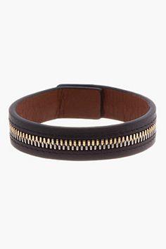 WANT LES ESSENTIELS DE LA VIE Black Leather Zip Bracelet