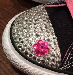 Low Top Converse Bling Toddler Shoes with Flower Rhinestone Design. Customized…