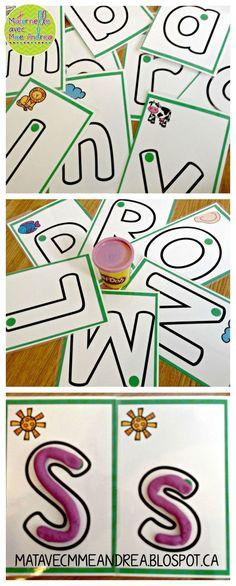 Cartes de pâte  modeler (les lettres de l'alphabet) - faire vos élèves travailler la motricité fine en apprenant la forme des lettres de l'alphabet! En couleur et noir & blanc. $