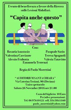 Evento di beneficenza a favore della Ricerca sulle Lesioni Midollari Auditorium Santa Chiara, Roma 26 novembre 2016, ore 21.00