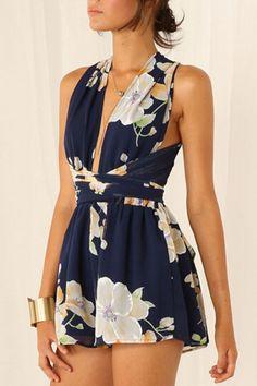 Moda Feminina : Navy Floral Crossover Rompers