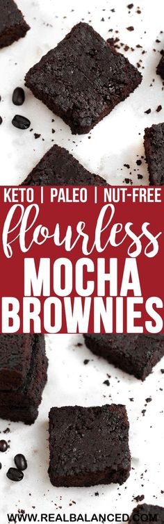 These Keto Flourless Mocha Brownies are the ultimate low-carb chocolate treat! This recipe is keto low-carb paleo dairy-free nut-free gluten-free grain-free vegetarian refined-sugar-free and contains only grams of net carbs per serving! Low Carb Chocolate, Chocolate Treats, Chocolate Recipes, Brownie Recipes, Desserts Keto, Paleo Dessert, Dessert Recipes, Paleo Sweets, Nut Free