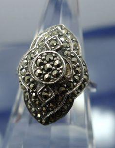 Sz 6 5 Ring Silver Vintage Vtg 3 Tiers of Marcasite | eBay