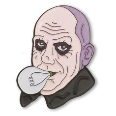 """My name is Fester. It means... to ROT!"" -Fester Addams Our newest pin pays tribute to Fester Addams and his lightbulb trick.-1.5""-1 Post-Soft Enamel-Rubber Clutch-Mi..."