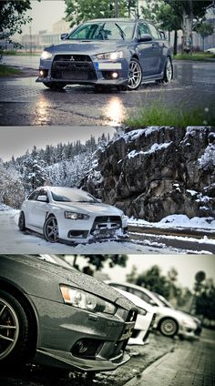 The Mitsubishi Lancer Evolution is a four-door sports car produced since 1992. Today it runs the tenth generation (EVO X). 4 cylinder 4WD 2.0 L turbocharged, front engine, up to 300 and 400 hp, this car won the 1998 World Rally Championship against her rival, the Subaru WRX Sti. Jaw-dropping grip, buffalo power, unstoppable snow leopard. Pics from: www.deviantart.com and www.motor-guides.com