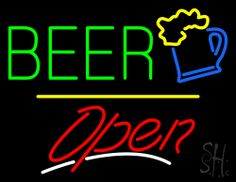 Beer Logo Open Yellow Line Neon Sign 24 Tall x 31 Wide x 3 Deep, is 100% Handcrafted with Real Glass Tube Neon Sign. !!! Made in USA !!!  Colors on the sign are Green, Yellow, Blue, White and Red. Beer Logo Open Yellow Line Neon Sign is high impact, eye catching, real glass tube neon sign. This characteristic glow can attract customers like nothing else, virtually burning your identity into the minds of potential and future customers.