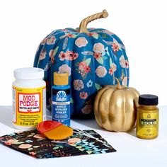 Use napkin patterns to transform the design of your pumpkin using Mod Podge. Your fall decor will be stylin this season with this easy to create, no-carve option. Mix and match napkin patterns with paint colors to make a completely personalized pumpkin.
