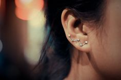 Cassiopeia sterling silver ear earring pins/cuffs