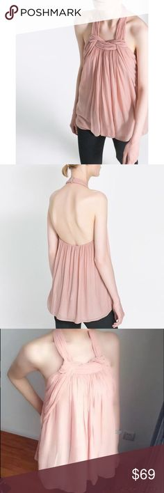 Zara Blush Pink Halter Top Brand New   Knotted front detail Halterneck style Floaty sheer bodice  100% Polyester  🔴No Trades🔴✅Bundle and Save ✅ Zara Tops