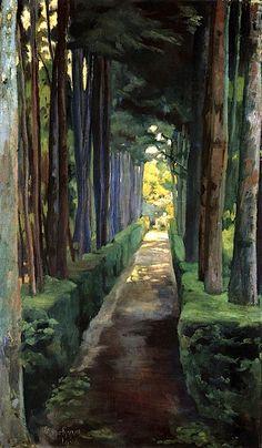 green - verde - trees - árvores - Melancholy Promenade - Diego Rivera, 1904