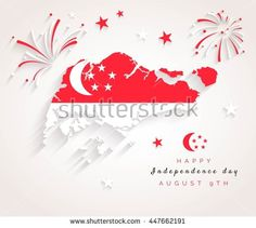 9 August. Singapore Independence Day greeting card. Celebration background with…