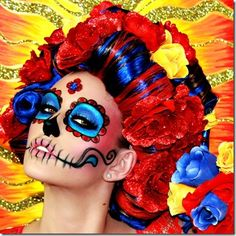 Like these colors too. Lindsay-Marie-Dia-De-Los-Muertos-day-of-the-dead-skull-makeup Crazy Halloween Makeup, Halloween Make Up, Halloween Ideas, Halloween Office, Halloween Projects, Dead Makeup, Hair Makeup, Maquillaje Sugar Skull, Photoshoot Idea
