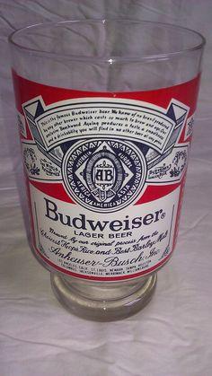 Vintage Budweiser Lager Beer Glass - Rare. $14.95, via Etsy.