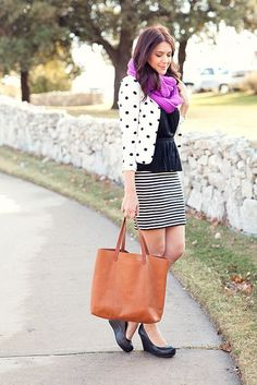 Shop this look on Lookastic:  http://lookastic.com/women/looks/scarf-blazer-peplum-top-mini-skirt-tote-bag-wedge-pumps/8930  — Purple Knit Scarf  — White and Black Polka Dot Blazer  — Black Peplum Top  — White and Black Horizontal Striped Mini Skirt  — Tobacco Leather Tote Bag  — Black Leather Wedge Pumps