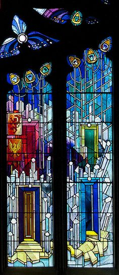 This stained glass window is in St. Michael's Parish Church in Linlithgow. It was installed in 1992 to mark the anniversary of the consecration of St Michael's. Scottish artist Crear McCartney design and executed the window. Stained Glass Church, Stained Glass Art, Stained Glass Windows, Leaded Glass, Beveled Glass, Glass Doors, Mosaic Art, Mosaic Glass, Art Nouveau