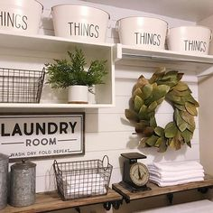 Love this inspired laundry room because, well, we all have laundry to do, right? So why not style it to please our decor senses! Thx for including our Canisters in your Farmhouse laundry room decor inspiration Laundry Room Shelves, Laundry Room Remodel, Small Laundry Rooms, Laundry Room Organization, Laundry Room Design, Laundry In Bathroom, Storage Shelves, Storage Ideas, Organization Ideas