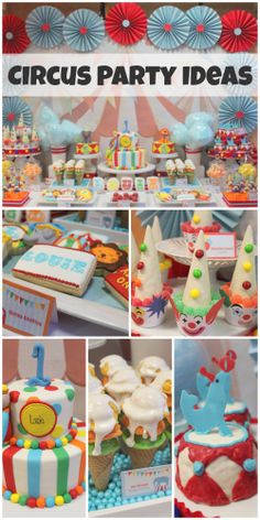 Gorgeous circus 1st birthday party ideas, perfect for a boy. Amazing circus birthday cake and treats! See more party ideas at CatchMyParty.com.