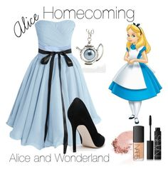"""""""Homecoming Alice"""" by jakebake ❤ liked on Polyvore featuring ASOS, NARS Cosmetics, women's clothing, women, female, woman, misses, juniors, Prom and disney"""