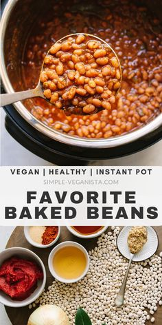Healthy Baked Beans (Instant Pot or Slow Cooker). Full of flavor and nutrition, these vegan smoky baked beans are perfect for BBQ's & picnics! Crockpot Baked Beans, Healthy Baked Beans, Vegetarian Baked Beans, Slow Cooker Beans, Baked Bean Recipes, Vegan Slow Cooker, Pressure Cooker Recipes, Vegetarian Recipes, Baked Beans Recipe Vegan