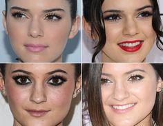 No make, as duas adoram destacar os olhos, investindo, assim, em lápis e delineador preto. A diferença é que Kendall é quem brinca mais com as cores na boca, apostando em batons coloridos.   Estilo de estrela: Kendall e Kylie Jenner! - Moda - CAPRICHO