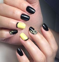 Beautiful nails 2017, Black and yellow nails, Drawings on nails, Evening nails, Exquisite nails, Nails with curls, Nails with rhinestones, Party nails