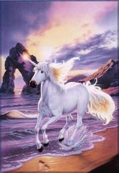 Bonito unicornio corriendo por la playa