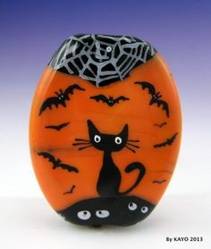 """Haunted Halloween"" Bykayo A Handmade Spooky Cat Lampwork Glass Focal Bead SRA | eBay"